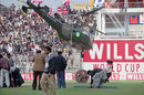 A helicopter tries to dry the square, Pakistan v UAE, Group B, Gujranwala, February 24, 1996