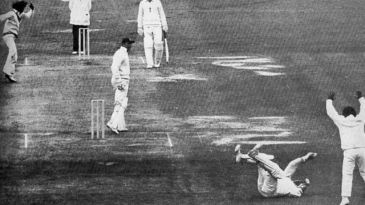 Geoff Boycott, in his last Test innings for three years, is caught by Farokh Engineer off Eknath Solkar for 6