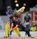 Brad Hogg runs out Rayad Amrit in the 20th over, Barbados Tridents  v Antigua Hawksbills, CPL 2014, Bridgetown, July 25, 2014
