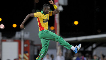 Ronsford Beaton celebrates after a wicket