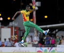 Ronsford Beaton celebrates after a wicket, Barbados Tridents v Guyana Amazon Warriors, CPL 2014, Bridgetown, July 26, 2014