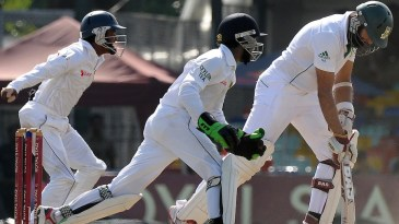 Hashim Alma reacts after being caught at first slip