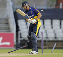Stewart Walters had his stumps rearranged by Jordan Clark, Lancashire v Glamorgan, NatWest T20 Blast quarter-final, Old Trafford, August 2, 2014