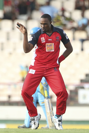 Dwayne Bravo breaks into a dance after taking a wicket, St Lucia Zouks v Trinidad & Tobago Red Steel, CPL 2014, Gros Islet, August 2, 2014