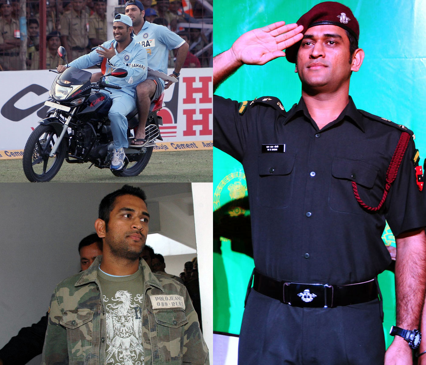 Wheeler dealer: Motorbikes and the army have been among Dhoni's few constant off-field passions