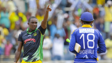 Jerome Taylor celebrates after the final ball