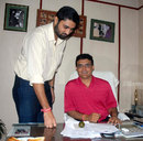 Sourav Ganguly with cricketer Ranadeb Bose after being elected the Joint Secretary of the Cricket Association of Bengal, Kolkata, August 4, 2014
