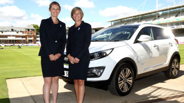 England captain Charlotte Edwards and the ECB's head of women's cricket Clare Connor pose with a Kia Sportage