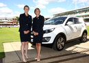 England captain Charlotte Edwards and the ECB's head of women's cricket Clare Connor pose with a Kia Sportage during a press conference to announce a new sponsorship deal for the women's team, Lord's, July 14, 2014