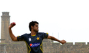 Mohammad Talha trains on the eve of the Galle Test, August 5, 2014