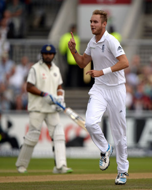 Stuart Broad removed Gautam Gambhir in his second over, England v India, 4th Test, Old Trafford, 1st day, August 7, 2014