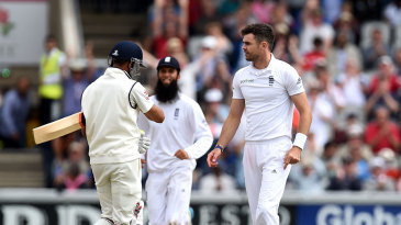 James Anderson glares at Ravindra Jadeja after dismissing him