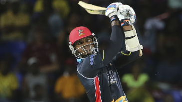 Marlon Samuels strikes one of his eight sixes