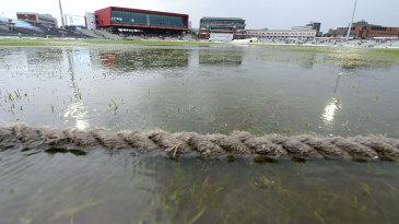 The rain came down hard at Old Trafford
