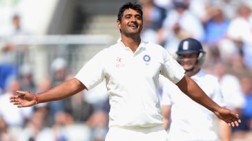 At long last... Pankaj Singh is relieved after his maiden Test wicket
