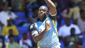 Mervin Mathew charges in to bowl