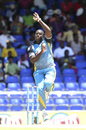 Mervin Mathew charges in to bowl, St Lucia Zouks v Jamaica Tallawahs, CPL, St Kitts, August 9, 2014
