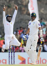 Kaushal Silva leaps in joy after the wicket of Mohammad Talha, Sri Lanka v Pakistan, 1st Test, Galle, 5th day, August 10, 2014