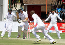 Mark Vermeulen looks for a single, Zimbabwe v South Africa, only Test, Harare, 4th day, August 12, 2014
