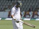 Mark Vermeulen walks back for 21, Zimbabwe v South Africa, only Test, Harare, 4th day, August 12, 2014