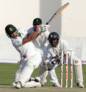 Alviro Petersen goes for a big hit, Zimbabwe v South Africa, only Test, Harare, 4th day, August 12, 2014