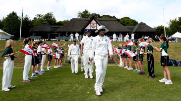 Mithali Raj leads India out onto the field