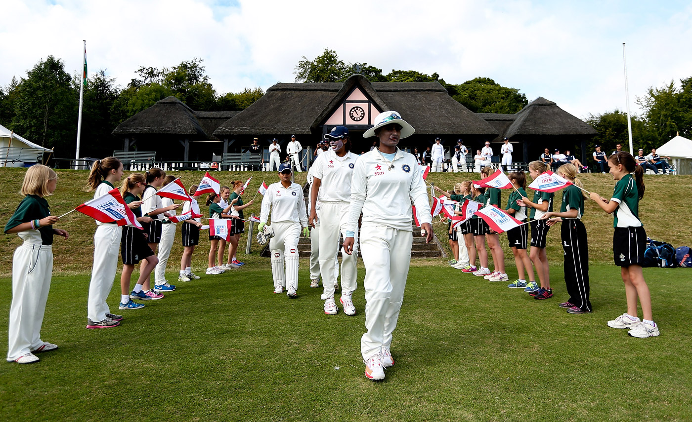 Mithali leads the team out for the 2014 Wormsley Test that India won by six wickets