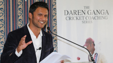 Daren Ganga speaks during the launch of his DVD on coaching