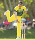James Muirhead in his follow-through, Australia A v National Performance Squad, A-team quadrangular series, Darwin, July 22, 2014