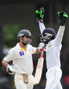 Niroshan Dickwella celebrates Ahmed Shehzad's dismissal, Sri Lanka v Pakistan, 2nd Test, Colombo, 2nd day, August 15, 2014