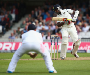 Varun Aaron had to wear a short ball on his arm guard, England v India, 5th Investec Test, The Oval, 1st day, August 15, 2014