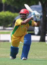 Ritesh Kadu drives through the off side, South West v North East, USACA T20 National Championship, Florida, August 15, 2014