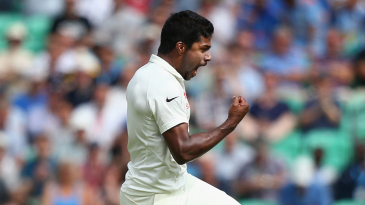 Varun Aaron is pumped up after bowling Sam Robson