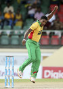 Krishmar Santokie picked up two wickets in his first two overs, Barbados Tridents v Guyana Amazon Warriors, CPL 2014 final, St Kitts, August 16, 2014