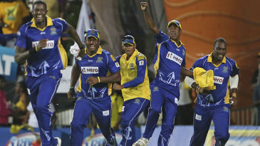 Barbados Tridents players celebrate their title win