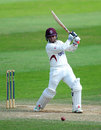 Johann Myburgh chops into the off side, Somerset v Warwickshire, County Championship, Division One, 4th day, Taunton, August 18, 2014