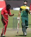 Brian Vitori is pumped after taking a wicket, Zimbabwe v South Africa, 2nd ODI, Bulawayo, August 19, 2014