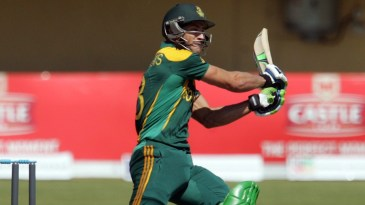 Faf du Plessis packs power into a shot