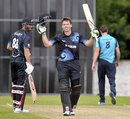 Michael Bracewell celebrates his hundred, Scotland v New Zealand A, Tour match, Edinburgh, August 20, 2014