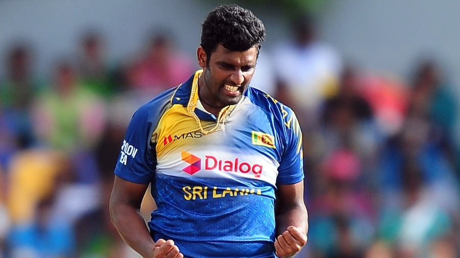 Thisara Perera exults after taking a wicket