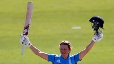 Charlotte Edwards celebrates her ninth ODI hundred