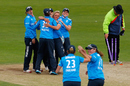Danielle Hazell is congratulated after taking the last wicket, England v India, 2nd women's ODI, Scarborough, August 23, 2014