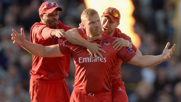 Remember that pose? Andrew Flintoff celebrates his wicket
