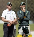 Selector Trevor Hohns with captain Michael Clarke at training, Harare, August 23, 2014