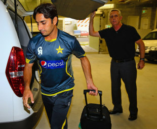 Saeed Ajmal arrives at the National Cricket Centre to have his action tested, Brisbane, August 25, 2014