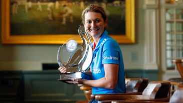 Charlotte Edwards poses with the series trophy after the third ODI