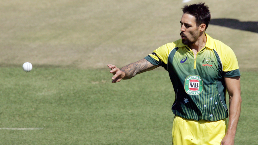 Mitchell Johnson collects the ball