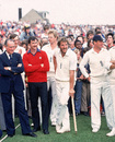 Graham Yallop (red sweater), Ian Botham and Geoff Boycott at the presentation, England v Australia, day five, fifth Test, August 17, 1981