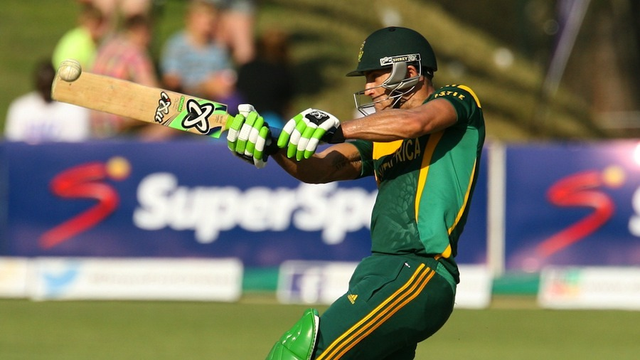 Faf du Plessis pulls during his maiden ODI ton