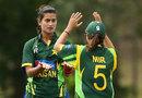 Pakistan's Maham Tariq celebrates a wicket, Australia v Pakistan, 4th women's ODI, Brisbane, August 28, 2014